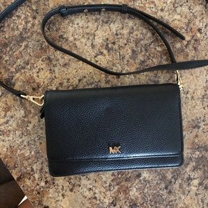 MK Pebbled Leather Phone Crossbody Wallet